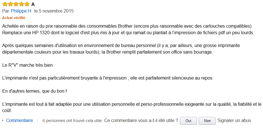 commentaire client amazon.fr HL 2300D