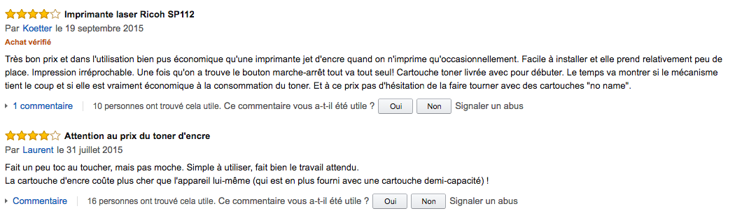 Commentaire client Amazon